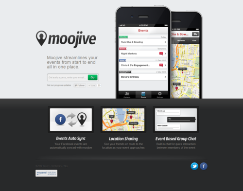 Moojive is a mobile app that extends your Facebook event experience. The app makes it easy to plan events on the go, stay on top of your friends en route location when heading out and provides a place for quick interaction between event members